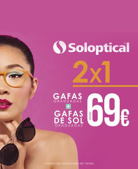 SOLOPTICAL. 2X1 LLÉVATE TUS GAFAS GRADUADAS + GAFAS DE SOL GRADUADAS DESDE 69€.